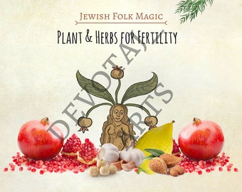 Fertility Plant Allies - Poster - 8x11 PDF - Jewish - Judaica -  Book of Shadows
