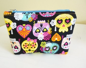 Bright Sugar Skull Print Cosmetics Bag, Day of the Dead Makeup Bag, Multicolor Zippered Pouch
