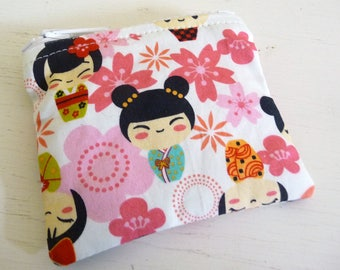 Asian Floral and Doll Print Coin Purse, smaller zippered bag