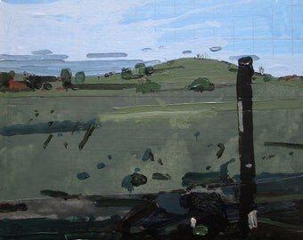 Evening, Secret Field, Original Autumn Landscape Collage Painting on Panel, Framed, Stooshinoff