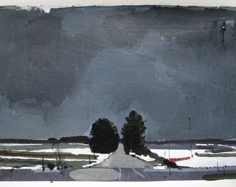 Approach, Original Winter Landscape Collage Painting on Paper, Stooshinoff
