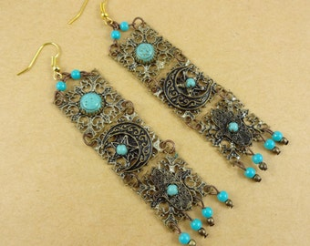 Exotic Chandelier Earrings - long dangly earrings, hamsa symbols, upcycled vintage, faux turquoise, boho bohemian, Middle Eastern, elegant