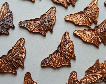 Vintage copper butterfly cabochon blanks