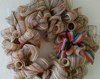Americana Patriotic Deco Mesh Wreath, Handmade Patriotic Wreath, Burlap Deco Mesh Wreath, Americana Striped Patriotic Ribbon