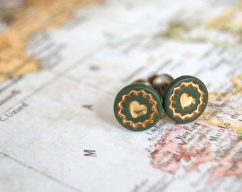 hunter green and gold vintage tiny heart post earrings- nickel free