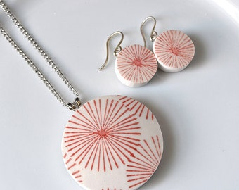 Simple Circle Broken China Jewelry  - Red and White Matching Necklace and Earrings
