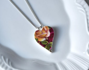 Recycled China Heart Pendant -Yellow and Red Rose - Portion of Proceeds to American Heart Association