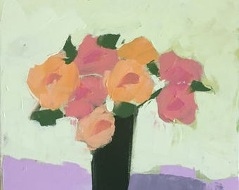 flower painting muted colors impressionistic painting of flowers blush pink original painting pamela munger