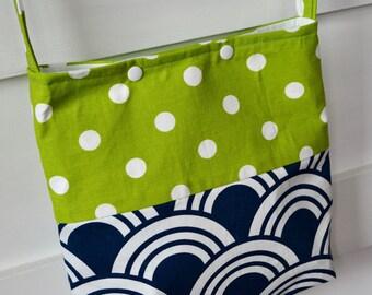 Girls Tote Bag- Girls Church Bag - Modern Girls Bag - Little G - irls Purse - Girls Cross body Bag - Girls Scripture Bag - Blue Green Bag