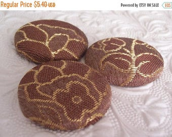 CLEARANCE - Dark bronze and gold mix  - 3 fabric covered buttons - 1.5 inches -  size 60