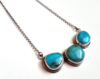 Silver and Turquoise Three Stone Pendant