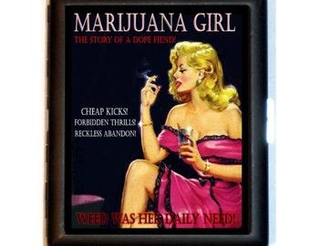 Marijuana Girl Blonde Cigarette Case Business Card Case Wallet Dope Reefer Girls out of Hell Design