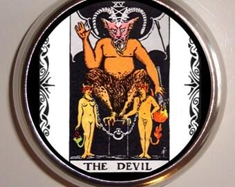 Devil Tarot Card Pillbox Pill Box Case Holder for Vitamins Pills Occult