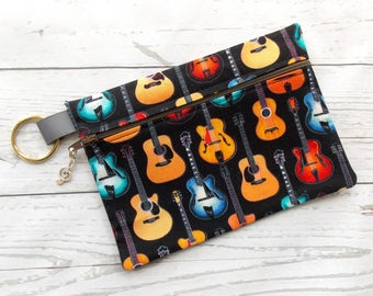 Guitar Clutch Purse - Guitar Lover Cosmetic Bag- Guitar Player Gift - Acoustic Guitar Gift - Musician Gift - Guitar Makeup Bag - Guitar Gift