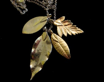 Vintage Gold-Dipped Leaves Necklace