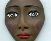 Reserved for Iulia Only....  Polymer  Brown Beauty Doll Face Cab  BRE 1