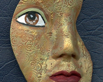 Polymer Clay Terra cotta, green and gold  textured Abstract Face Shard  GFSH 5