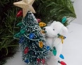 Miniature Bear Struggling to Decorate Christmas Tree Ornament
