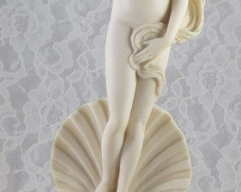 "Vintage Birth of Venus Sculpture, Botticelli Reproduction Marble Composite Statue, Figurine, 12-1/2"" Tall"