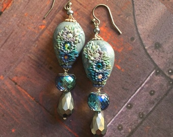 sea bells - sparkling iridescent vintage crystal and hematite ombre dangle earrings