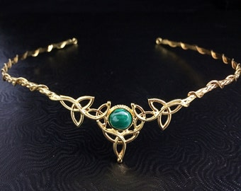 Wedding Circlet 10mm Malachite with 24K Gold Plating Celtic Circlet Trinity Knot Diadem Sterling Silver with 24K Gold Plating OOAK Tiara