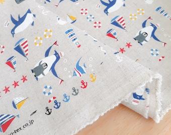 Japanese Fabric, Nautical Penguins on Natural, Linen Cotton Blend, Half Yard