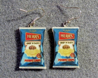Herr's Potato Chips Kitsch Dangle Polymer Clay Junk Food Earrings Hypo Allergenic Nickle-Free