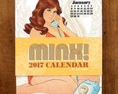 SALE! 2017 Pinup Calendar MINX! Curvy plus size pinups wall calendar, body positive curvy retro art gift