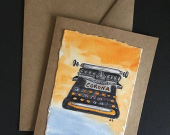 Typewriter- Original Watercolor  Note Card with  Envelope-  Ready to Frame or Give! Free Shipping!