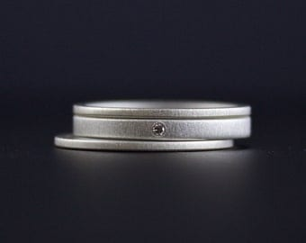 Simple Diamond Ring Set - Alternative Engagement Rings - Matte Finish Sterling Silver - Slim Profile - Stacking Rings with White Diamond