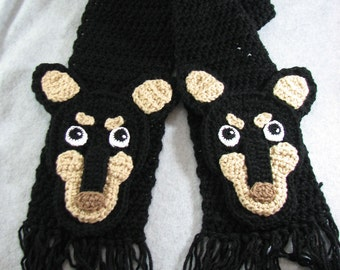 Crochet Mini Pinscher Head Scarf in Black Ready To Ship