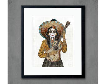 Hummingbird Day of the Dead Flamenco Guitarist Print