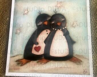 New!  STUDIO DUDA ART mini print/frameable greeting card  on velvety bright paper - Penguin Love  - 5.25x5.25 print