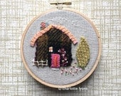 tiny house hoop art cottage embroidery : stitched cabin