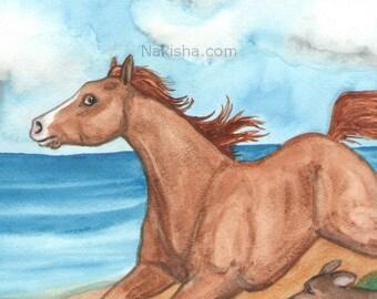 Original Art - The Fool- Watercolor Horse Painting - Art from The Riderless Tarot