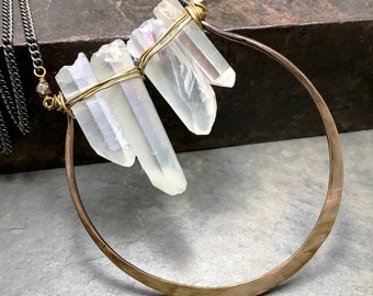 Raw Quartz Necklace, Healing Stone, Raw Crystal Pendant, Raw Clear Quartz Crystal Necklace, Rustic Jewelry