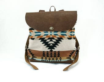 Free Shipping! Backpack—Rancho Arroyo Pattern in Rust/Turquoise