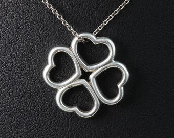 Vintage! Sterling Silver Tiffany & Co Four Heart Pendant and Chain