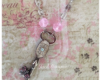 Steampunk OOAK Necklace - Vintage Skeleton Key, Watch Face, Rhinestone Butterfly, Pendant Necklace