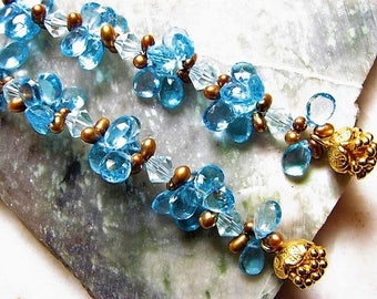 Swiss Blue Topaz, 24k Gold Flower Charms, Freshwater Pearls, Swavorski Crystal Couture Earrings, Long