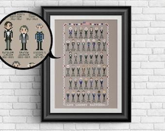 United States Presidents - PDF cross stitch pattern