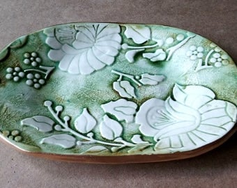 Ceramic Trinket Dish Moss green edged in gold