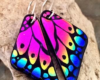 Butterfly Wing Earrings. Hand Etched Earrings, Dichroic Glass Earrings, Sterling Silver Earrings, Pink Rainbow Fused Glass Earrings
