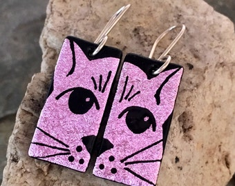 CAT Dichroic Glass Earrings - Hand Etched Split Design Pink Glass Art