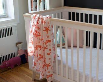 Coral Crustacean Organic Swaddle Blanket - Swaddle Blanket - GOTS Certified - Muslin Baby Blanket - Muslin Baby Swaddle - Gauze Baby Swaddle