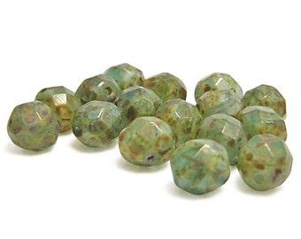 Czech Fire Polished Beads - 8mm - Round Beads - Czech Glass Beads - Picsso Beads - Czech Beads - Faceted - 16pcs (3265)