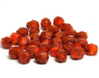 Czech Fire Polished Beads - 6mm Fire Polished - Orange Fire Polished - Round Beads - Czech Glass Beads - 30pcs (3843)
