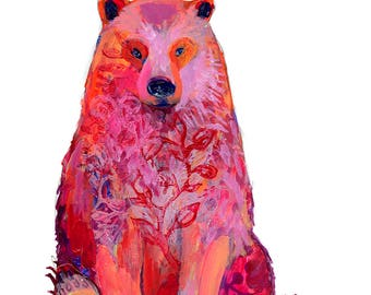 Bear Portrait - Poster Print by Jenlo - with BONUS matching notecard