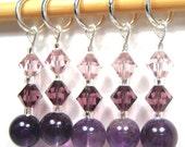 Healing Gemstone Stitch Marker Set - Amethyst - Customizable for Knitting or Crochet