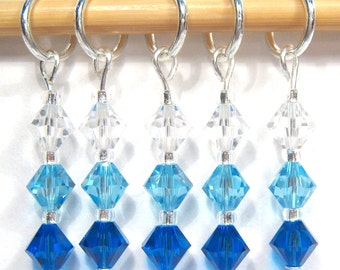 Aquamarine Stitch Marker Set - Customizable for Knitting or Crochet
